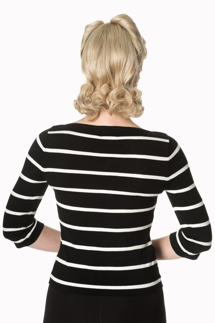 51b764e230e7c4 Banned 50er Jahre Retro Vintage Streifen Jumper - Stripes Please! - Schwarz