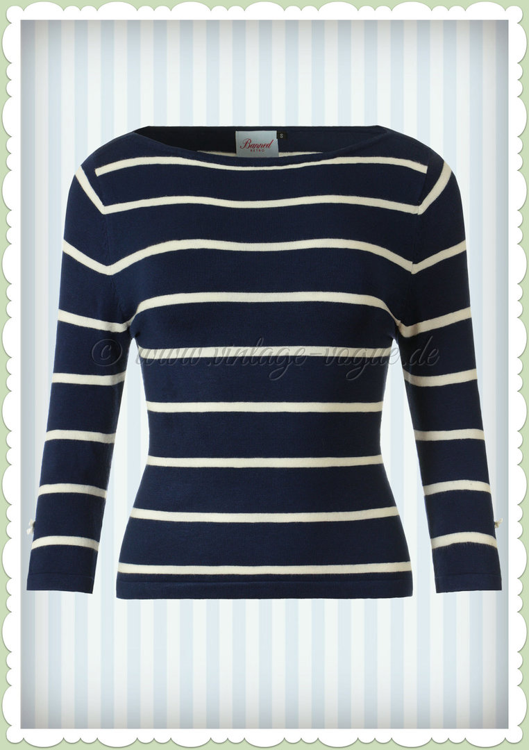 Banned 50er Jahre Retro Vintage Streifen Jumper - Stripes Please! - Blau