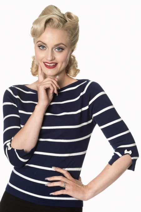dfce24b1a8a41d Banned 50er Jahre Retro Vintage Streifen Jumper - Stripes Please! - Blau