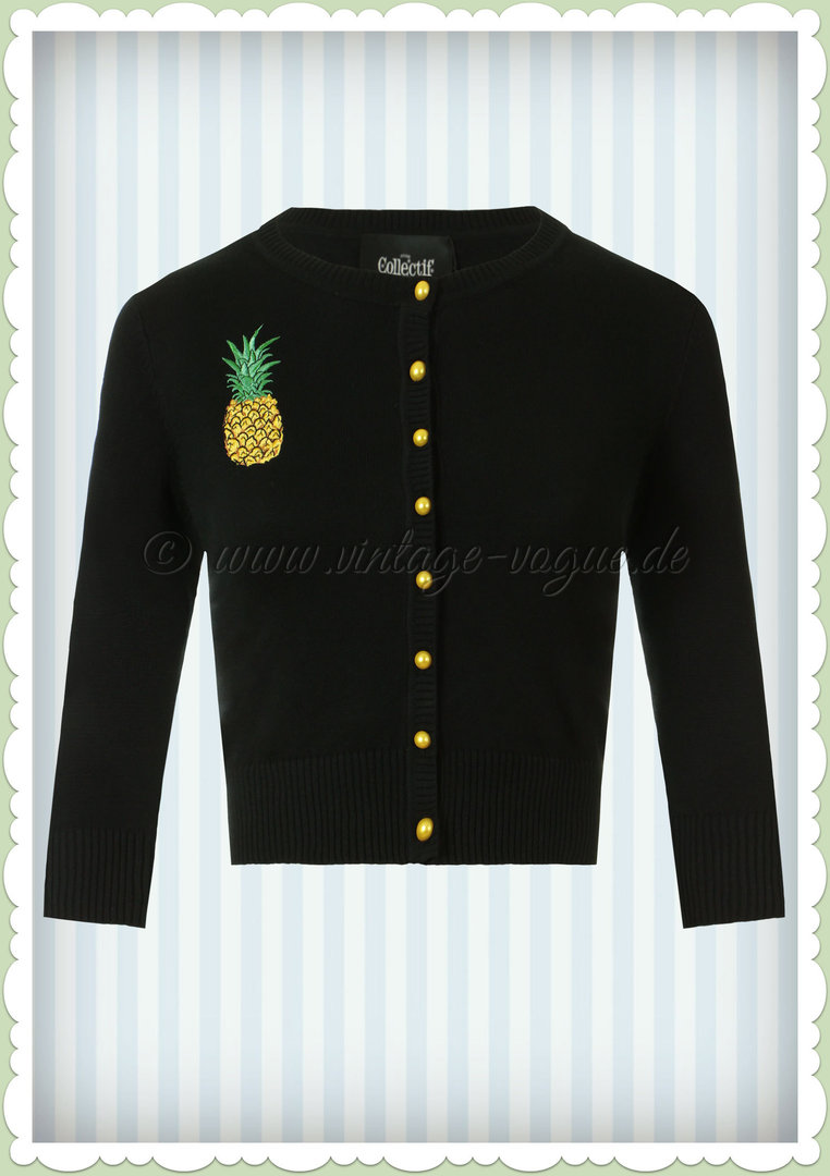 Collectif 50er Jahre Rockabilly Strickjacke - Lucy Pineapple - Schwarz