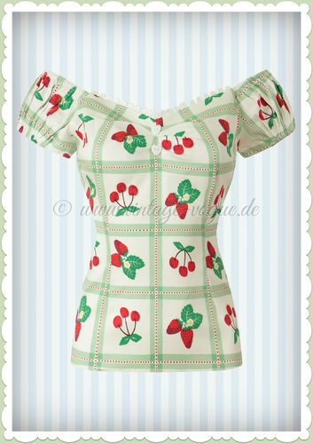 Collectif 50er Jahre Pin Up Vintage Retro Picknick Top Shirt  - Dolores - Weiß