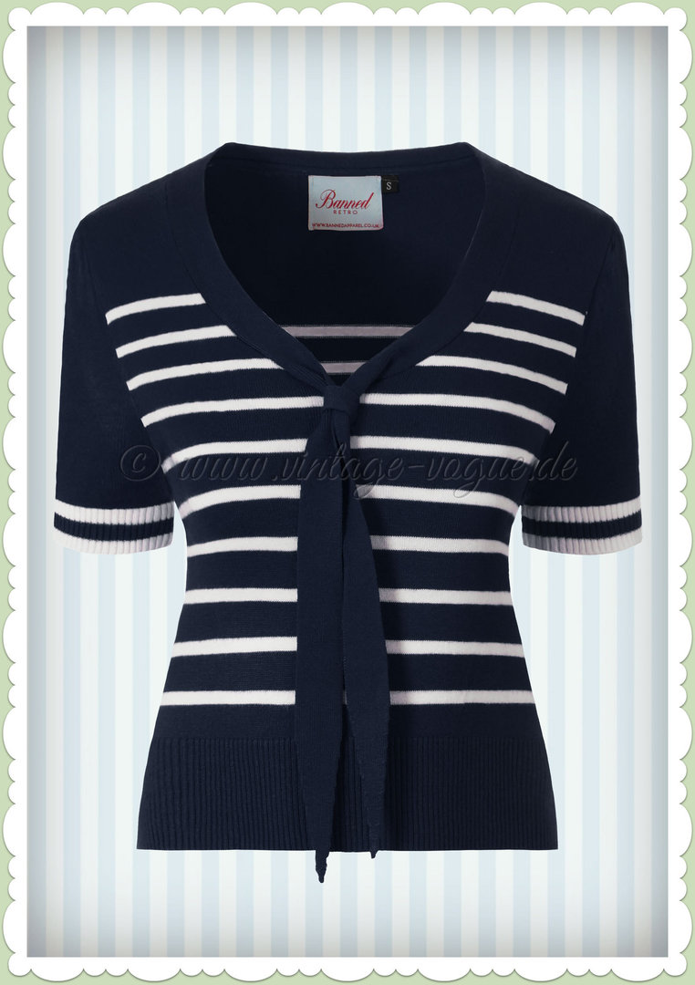 Banned 50er Jahre Rockabilly Vintage Streifen Top - Sailor Stripe - Navy Blau