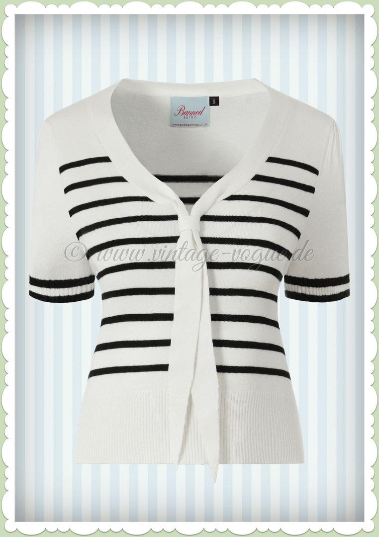 980206292cc9ad Banned 50er Jahre Rockabilly Vintage Streifen Top - Sailor Stripe - Weiß