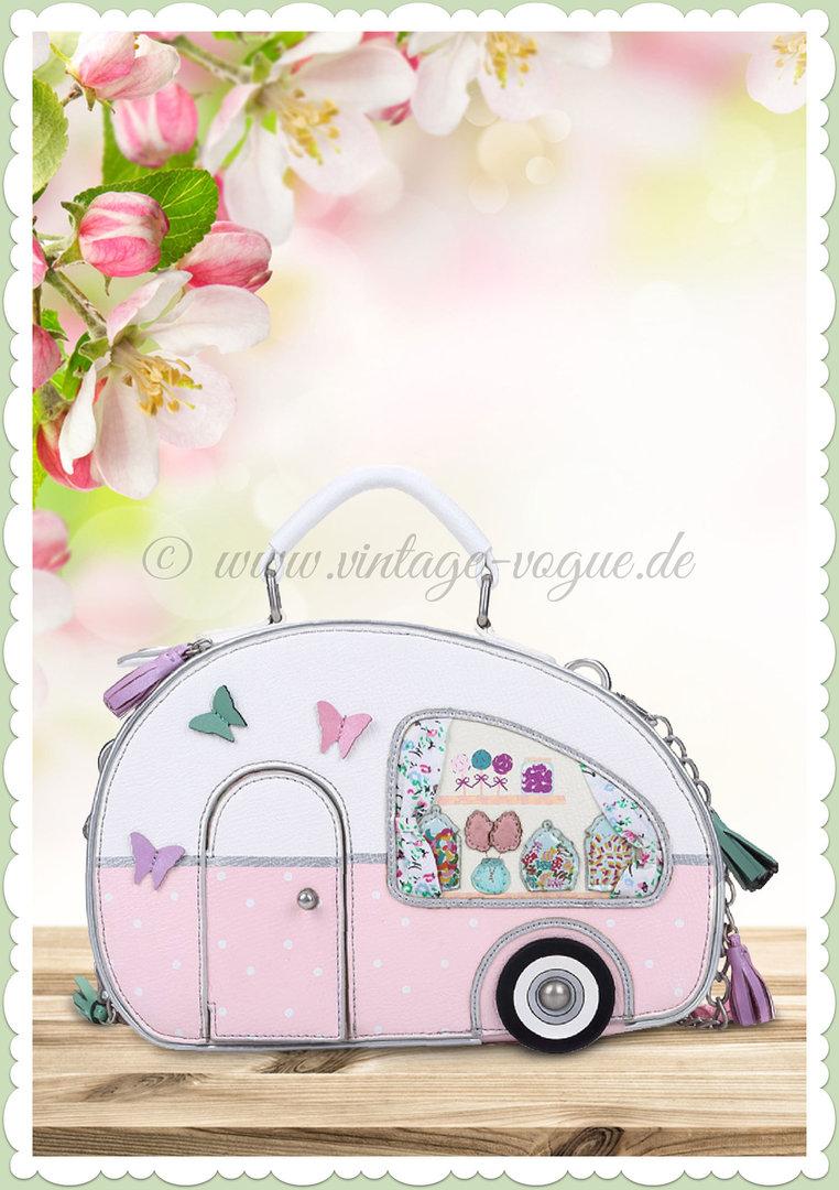 8da907ccb8ea4 Vendula London 60er Jahre Retro Handtasche - Sweetie Caravan - Rosa Weiß