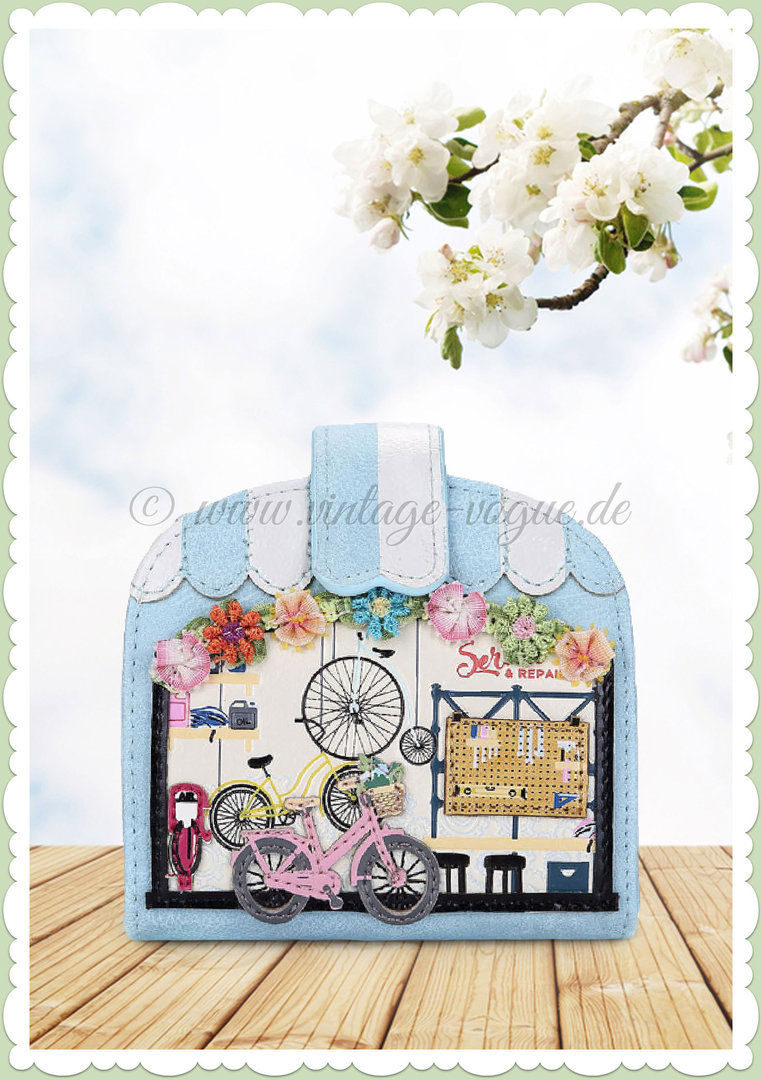 60de1f268df53 Vendula London 60er Jahre Kleingeldbörse - Bicyclette De Vendula - Blau