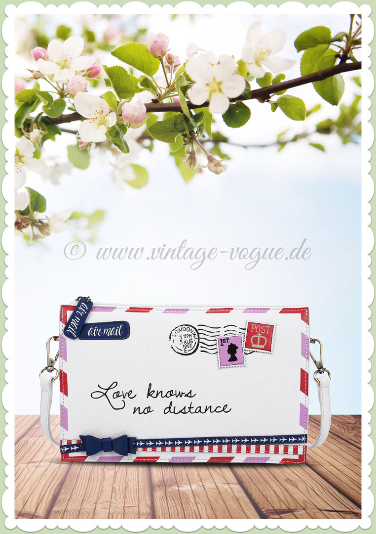 Vendula London 60er Jahre Retro Clutch Handtasche - Post Box - Weiß