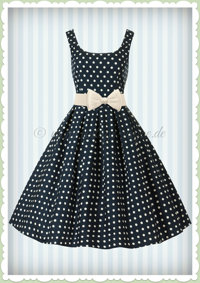 Dolly & Dotty 50er Jahre Retro Petticoat Punkte Kleid - Amanda - Navy Blau
