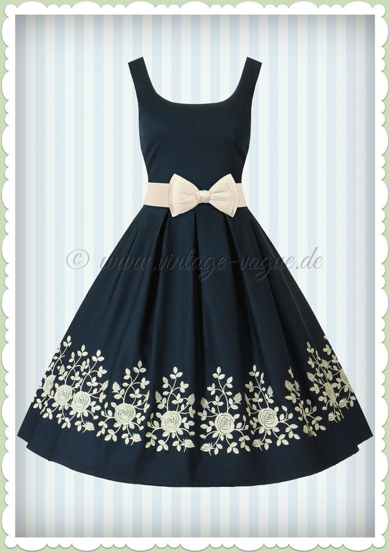 Dolly & Dotty 50er Jahre Retro Floral Petticoat Kleid - Amanda - Navy Blau