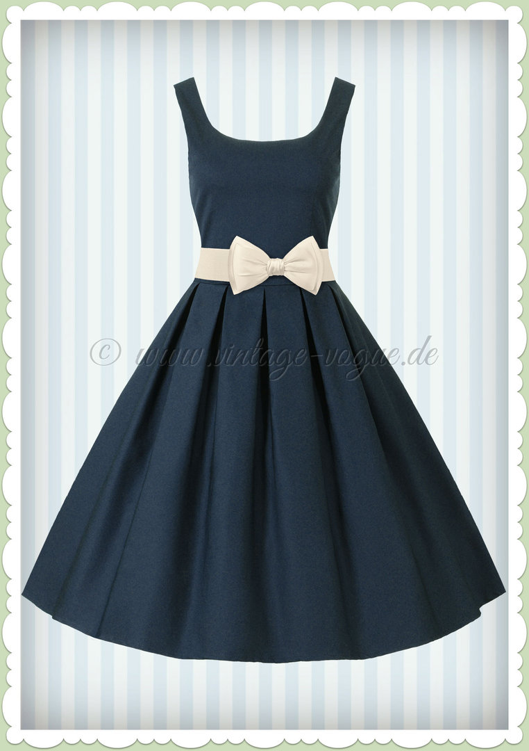 Dolly & Dotty 50er Jahre Vintage Retro Petticoat Kleid - Amanda - Navy Blau