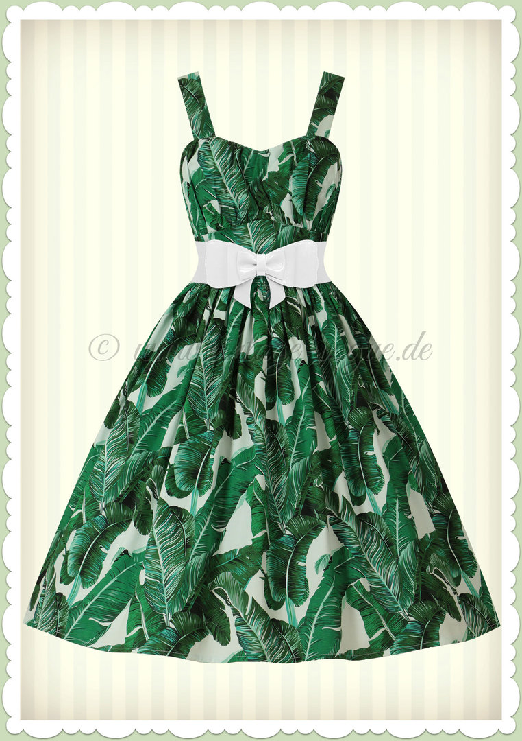 Banned 50er Jahre Rockabilly Vintage Pin Up Kleid - Tropical Leaf - Grün