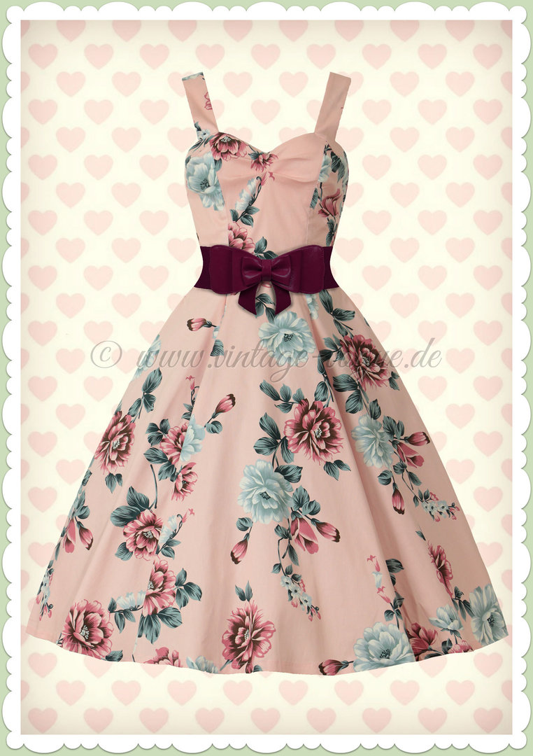 Banned 50er Jahre Rockabilly Vintage Floral Kleid - Evening Garden - Rosa