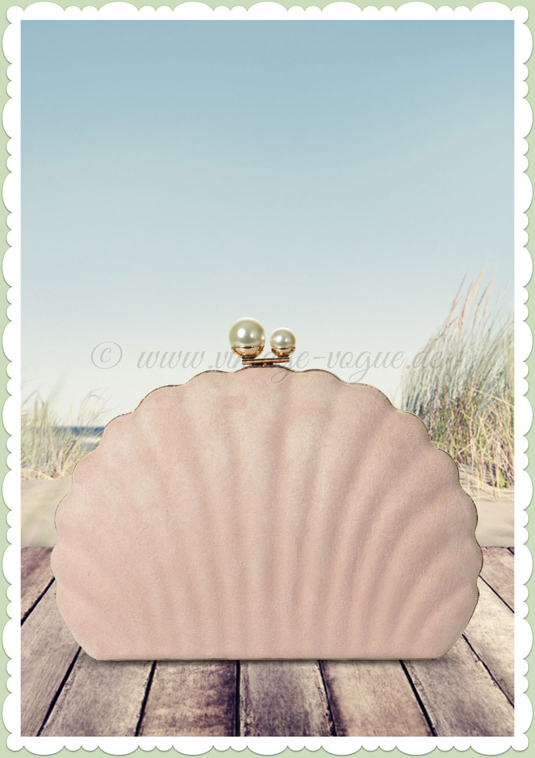 Collectif 50er Jahre Rockabilly Retro Muschel Clutch - Seashell - Rosa