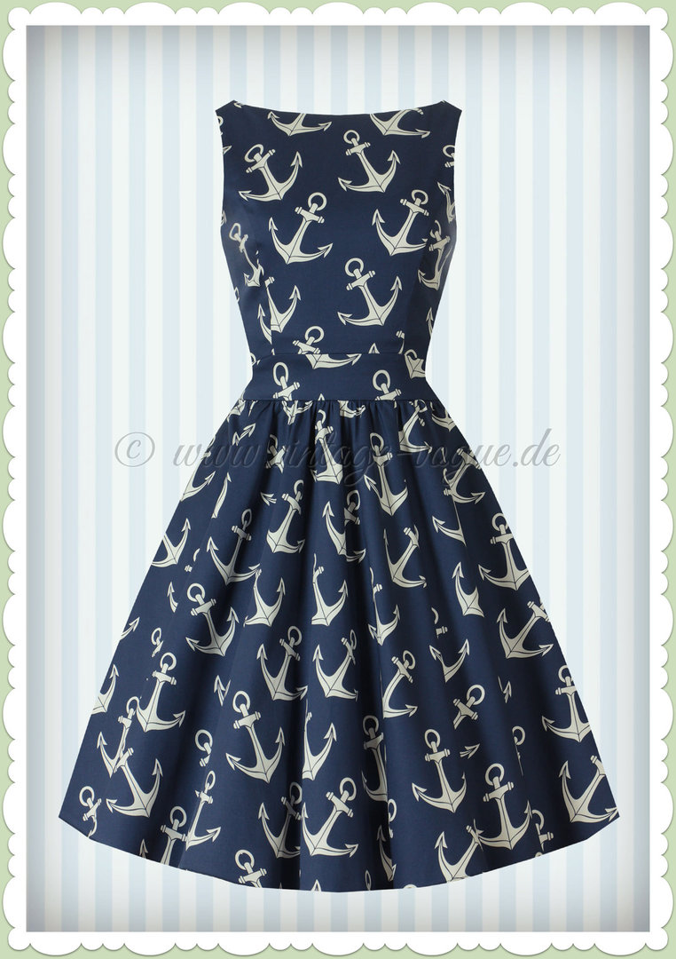 Lady Vintage 40er Jahre Vintage Nautical Kleid - Tea Dress - Navy Blau