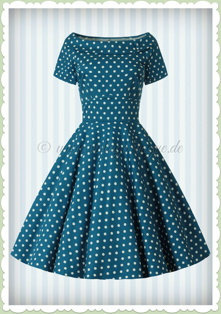 Dolly & Dotty 50er Jahre Rockabilly Punkte Kleid - Darlene - Petrol Blau
