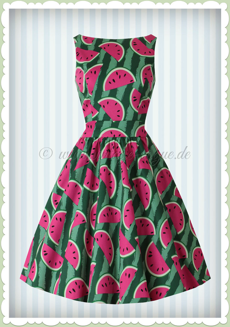 Lady Vintage 40er Jahre Vintage Watermelon Kleid - Tea Dress - Grün Pink