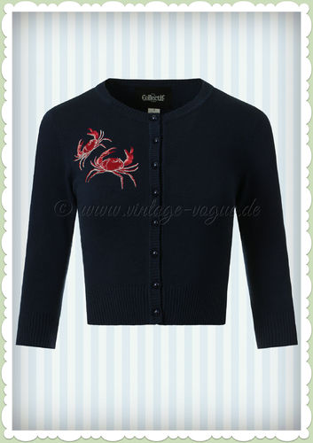 Collectif 50er Jahre Retro Maritime Strickjacke - Lucy Crabs - Navy Blau