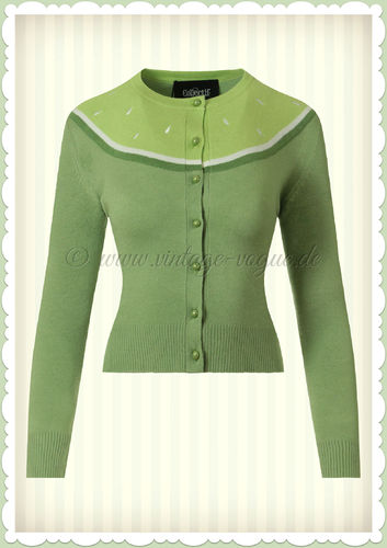 Collectif 50er Jahre Retro Vintage Strickjacke - Jessie Lime - Hell Grün