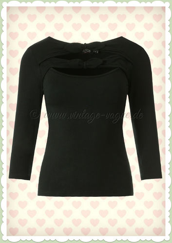 Dolly & Dotty 50er Jahre Rockabilly Vintage Shirt - Nicole - Schwarz