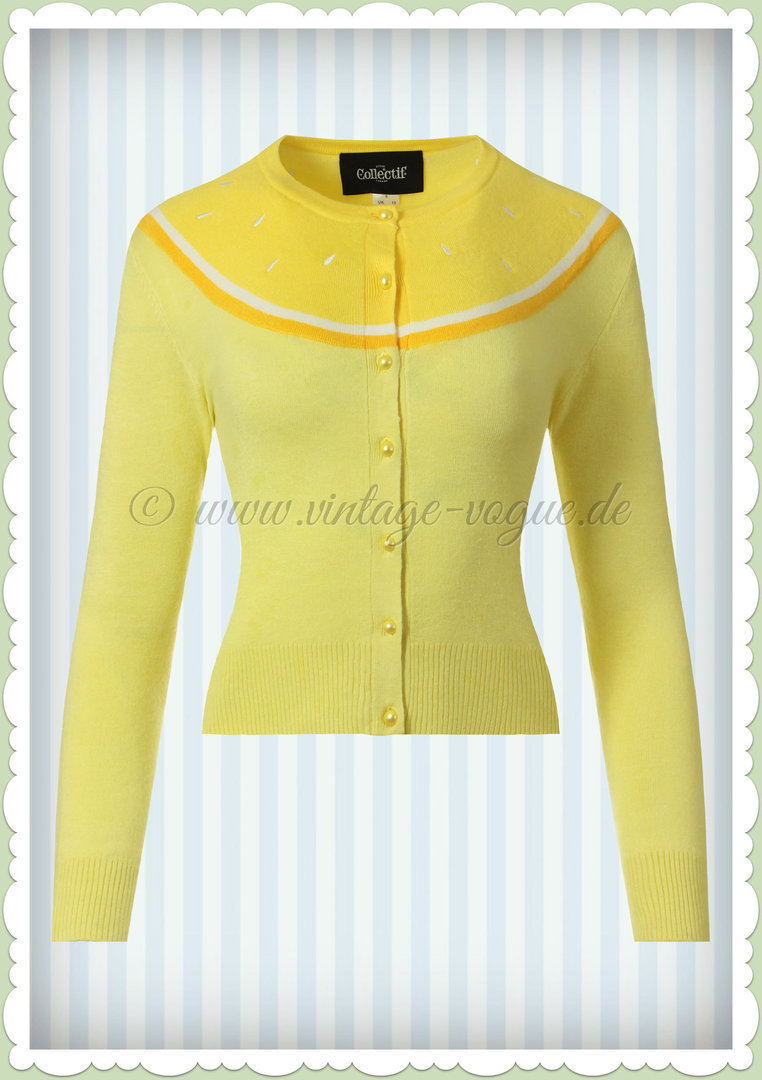 Collectif 50er Jahre Retro Vintage Strickjacke - Jessie Lemon - Gelb