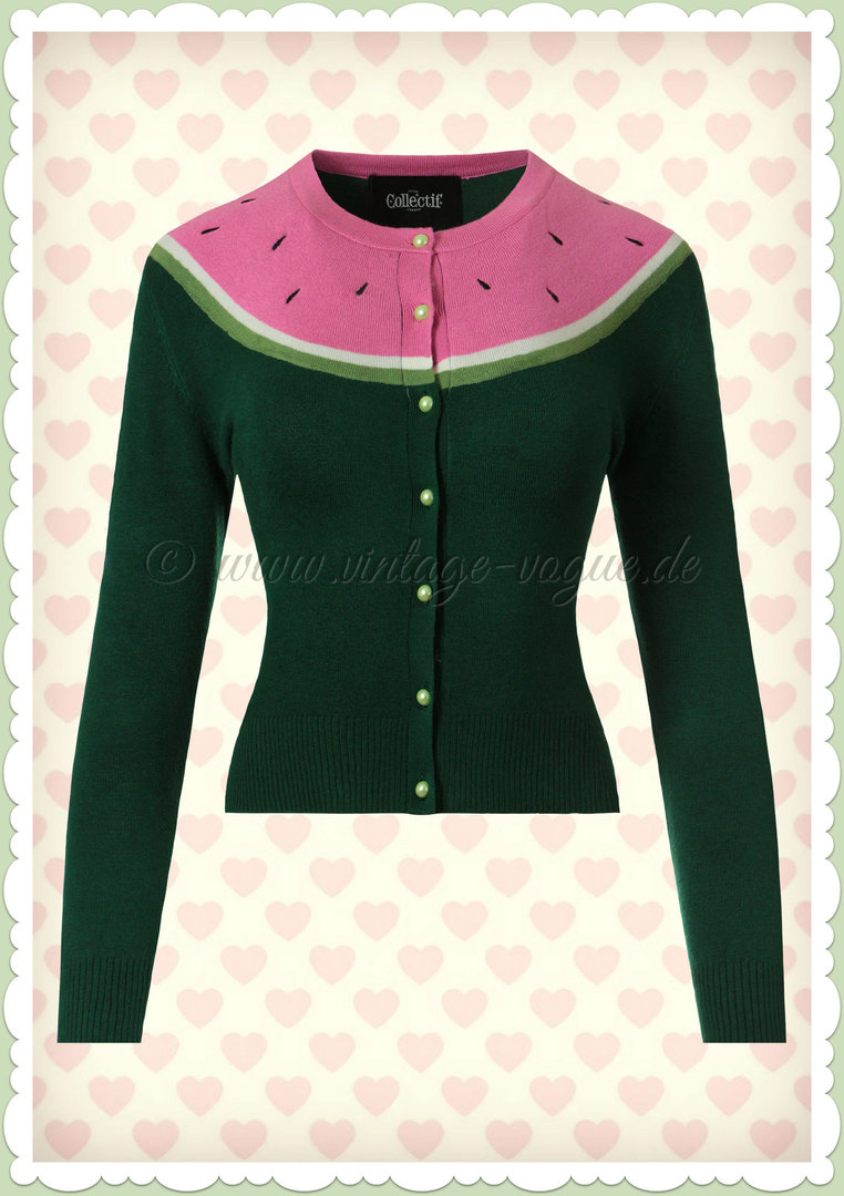 Collectif 50er Jahre Rockabilly Strickjacke - Jessie Watermelon - Pink Grün