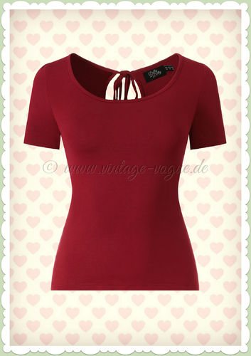 Dolly & Dotty 50er Jahre Rockabilly Vintage Basic Shirt - Ginar - Burgundy