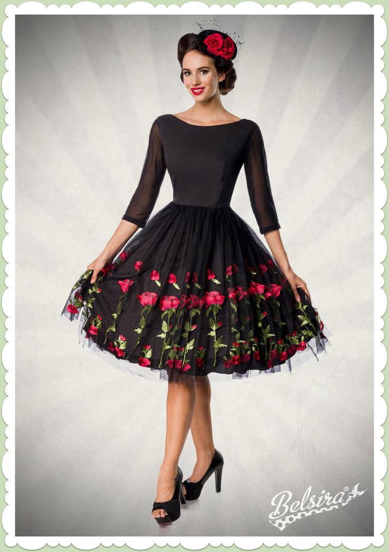 Belsira Premiun 11er Jahre Rockabilly Petticoat Swing Kleid - Schwarz