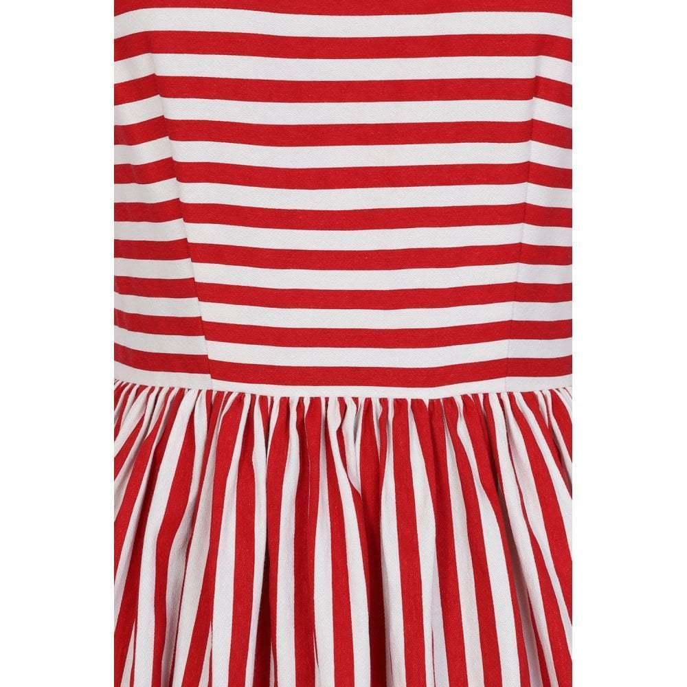 3a8a6211659 Collectif 50er Jahre Retro Rockabilly Streifen Kleid - Candica - Rot Weiß