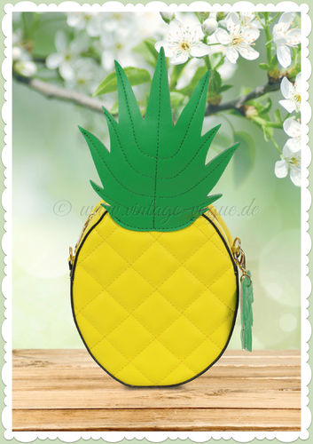 Collectif 50er Jahre Retro Pin Up Ananas Tasche - Mamba Pineapple - Gelb
