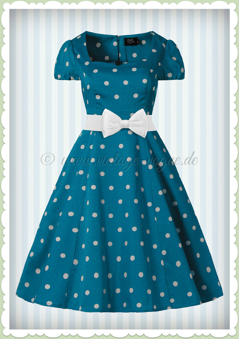 Dolly & Dotty 50er Jahre Rockabilly Punkte Kleid - Claudia - Blau Weiß