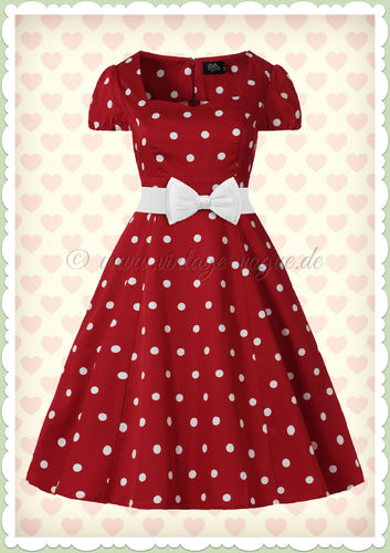 Dolly & Dotty 50er Jahre Rockabilly Punkte Kleid - Claudia - Burgundy Weiß