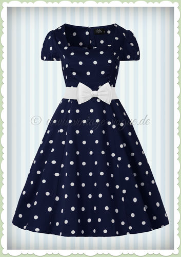 Dolly & Dotty 50er Jahre Rockabilly Punkte Kleid - Claudia - Navy Blau Weiß