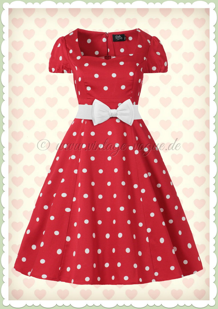 Dolly & Dotty 50er Jahre Rockabilly Punkte Kleid - Claudia - Rot Weiß