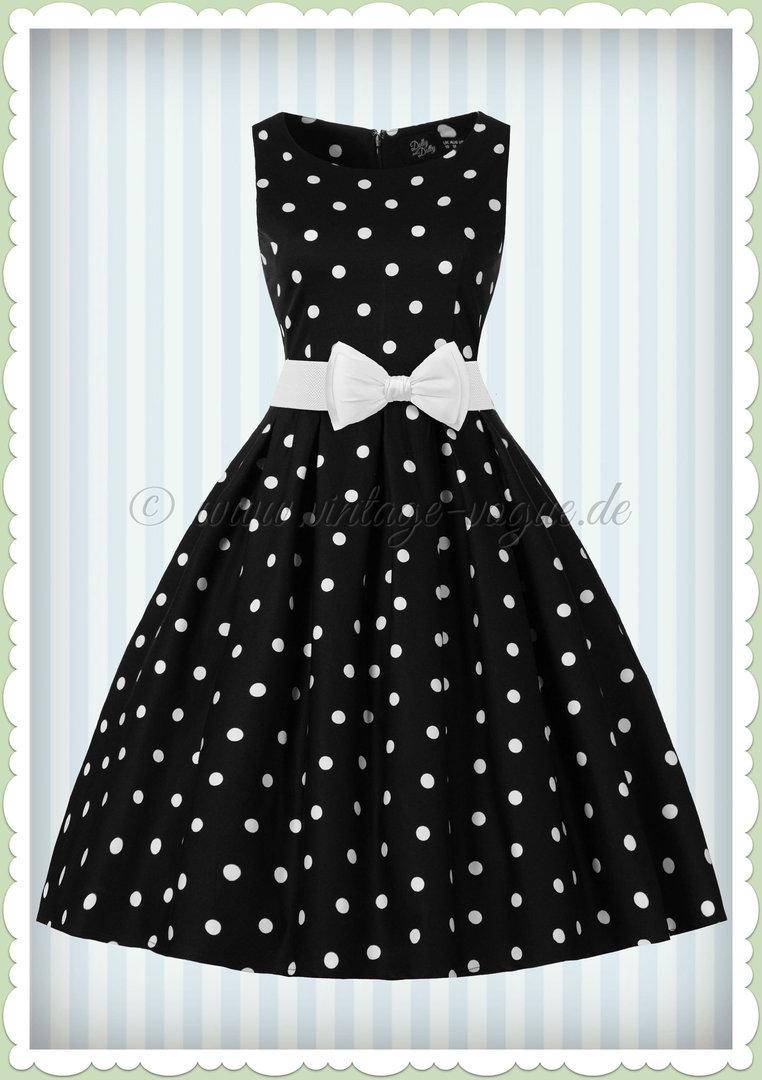 dolly & dotty 50er jahre punkte petticoat kleid - annie - schwarz weiß