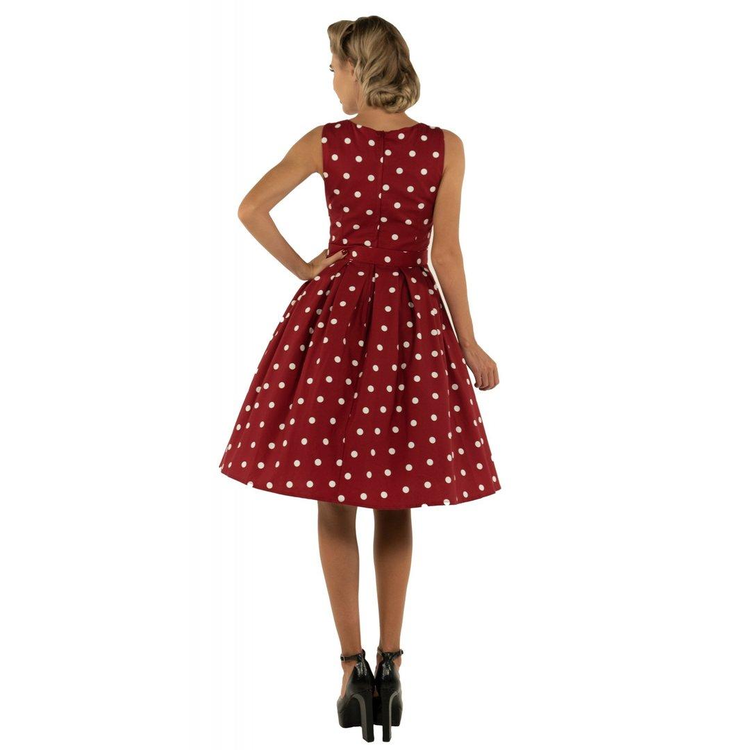 ff1229c6e93c97 Dolly & Dotty 50er Jahre Punkte Petticoat Kleid - Annie - Burgundy Weiß