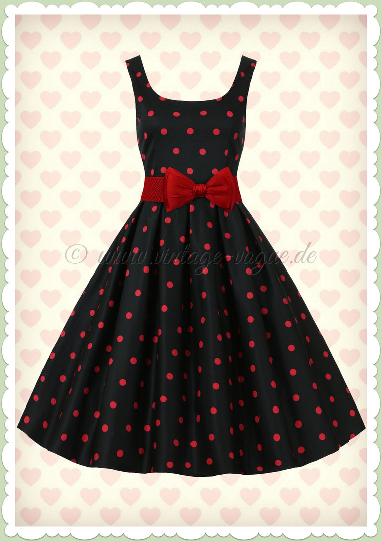 Kleid schwarz rote punkte