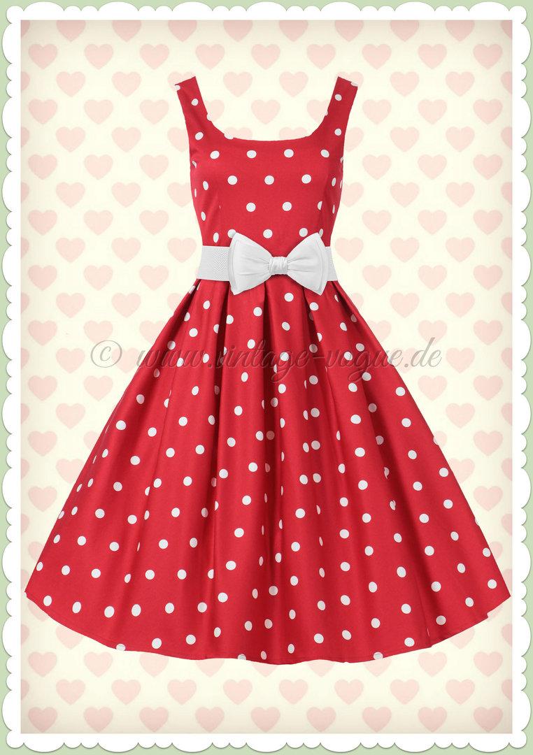 d3f63e0341337b Dolly & Dotty 50er Jahre Retro Petticoat Punkte Kleid - Amanda - Rot Weiß