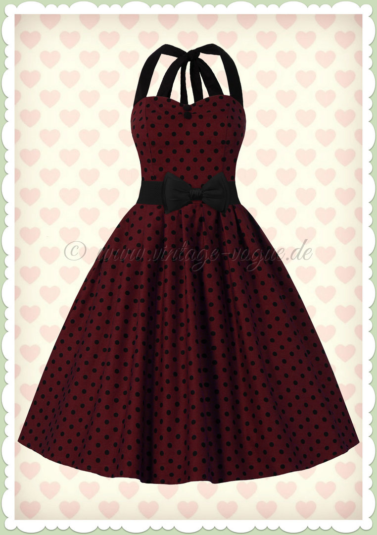 Dolly & Dotty 50er Jahre Retro Vintage Punkte Kleid - Sophia - Burgundy