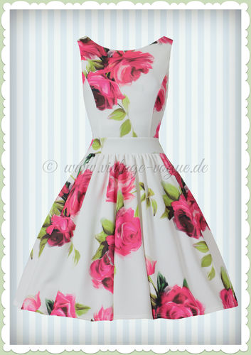 Lady Vintage 40er Jahre Vintage Retro Rosen Kleid - Tea Dress - Weiß Pink