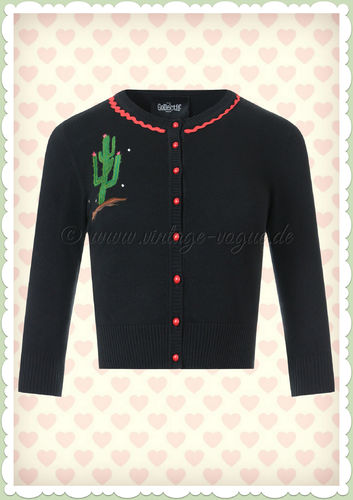 Collectif 50er Jahre Rockabilly Retro Strickjacke - Lucy Cactus - Schwarz
