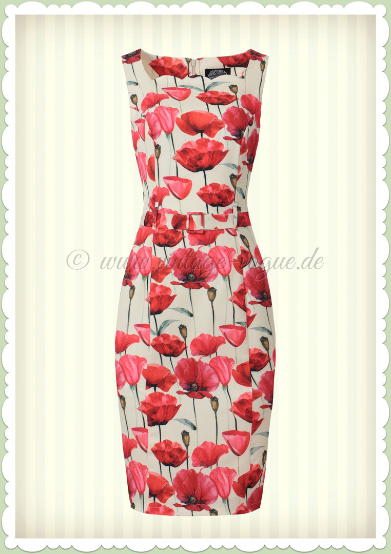 Hearts & Roses 50er Jahre Retro Floral Pencil Kleid - Sweet Poppy - Beige