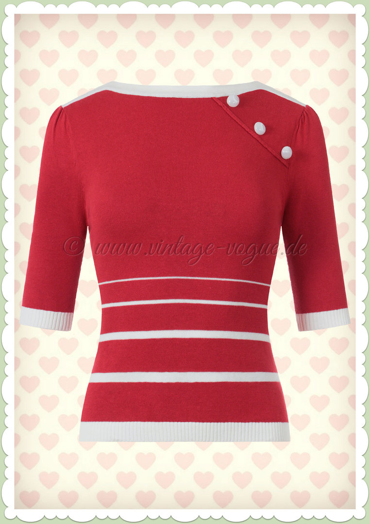 Collectif 50er Jahre Rockabilly Vintage Nautical Jumper - Armanda - Rot