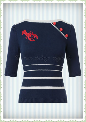 Collectif 50er Jahre Rockabilly Vintage Nautical Jumper - Armanda - Navy Blau