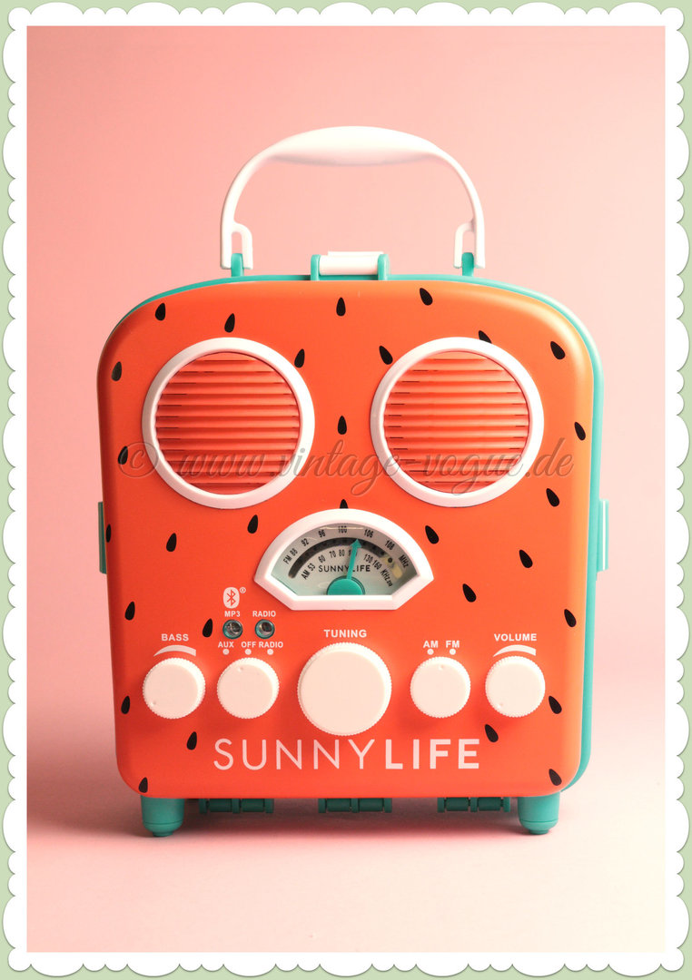 SunnyLife Retro Beach Sounds Radio & Bluetooth Lautsprecher - Watermelon