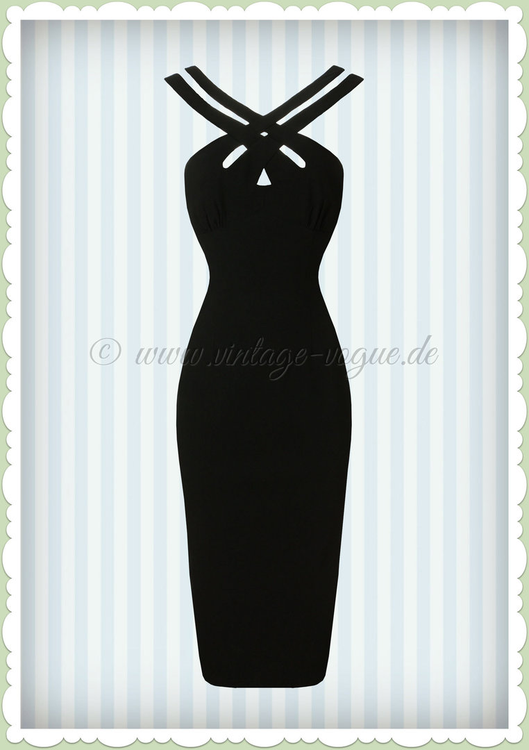 Voodoo Vixen 50er Jahre Pin Up Rockabilly Pencil Kleid  - Lillian - Schwarz