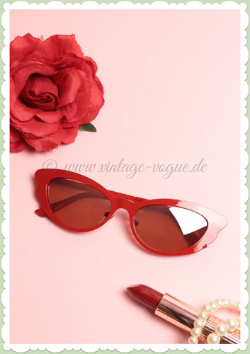 Revive Eyewear 50er Jahre Retro Vintage Cat Eye Sonnenbrille - Rot