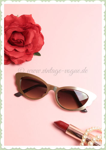 Revive Eyewear 50er Jahre Retro Vintage Cat Eye Sonnenbrille - Gold
