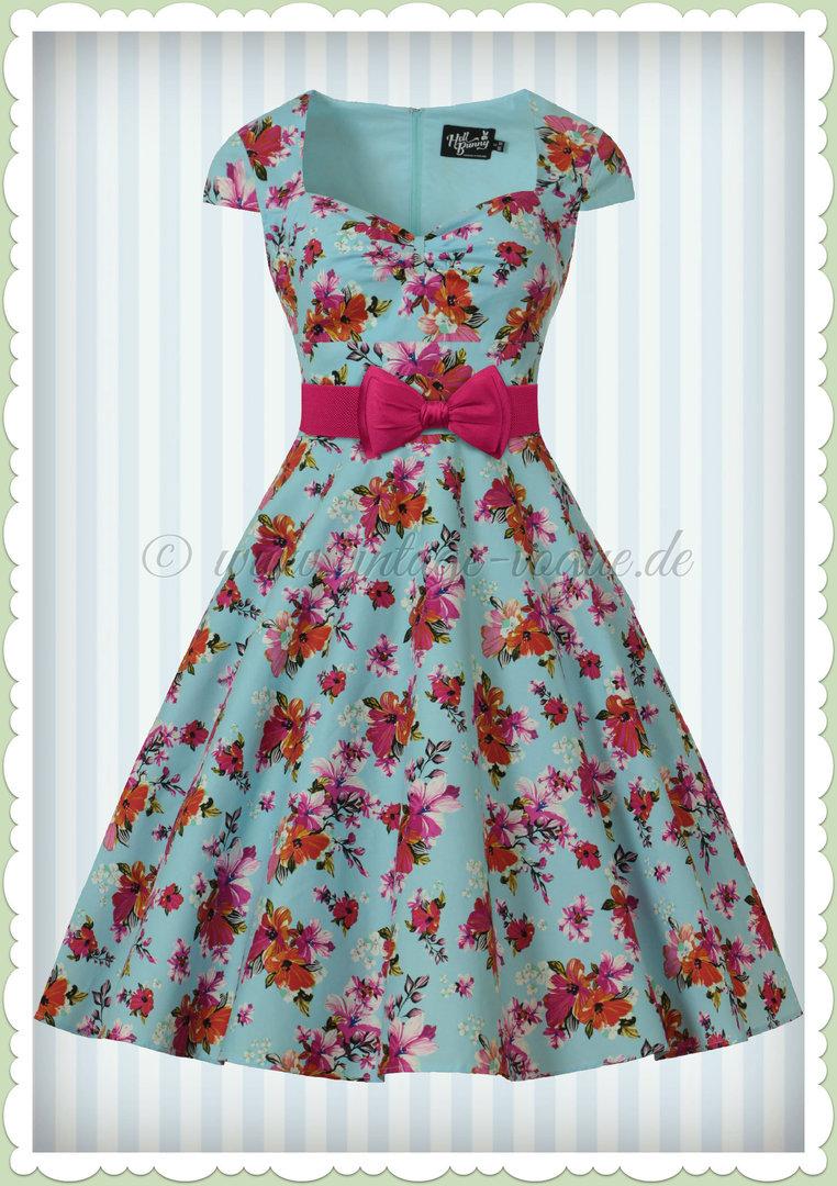 1314407b44604d Hell Bunny 50er Jahre Rockabilly Floral Petticoat Kleid - Noemie - Hell Blau