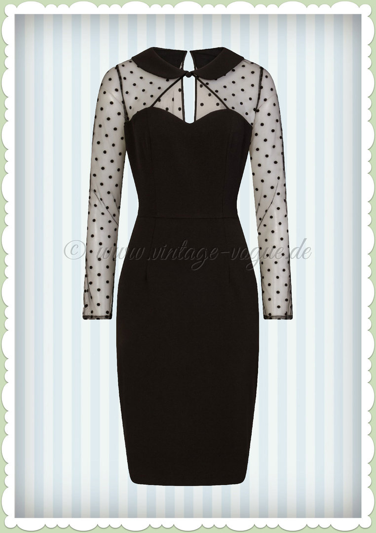 Hell Bunny 50er Jahre Pin Up Rockabilly Pencil Kleid  - Hollywood - Schwarz