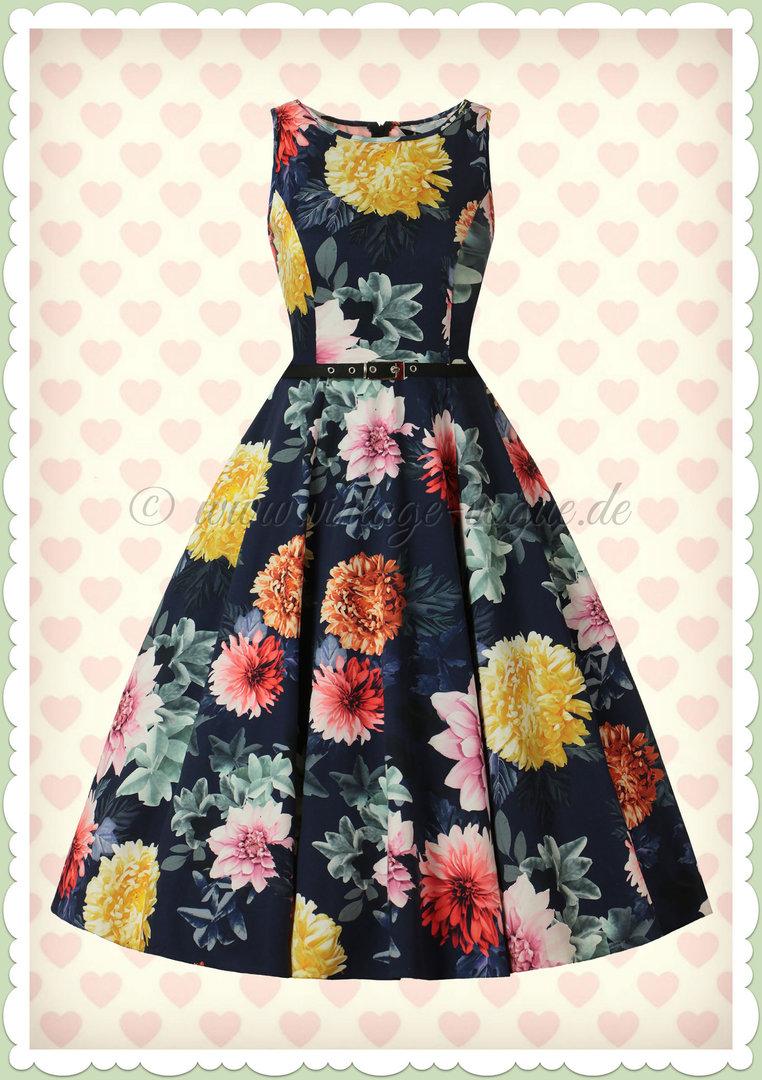 Lady Vintage 13er Jahre Retro Vintage Floral Kleid - Hepburn - Navy Blau