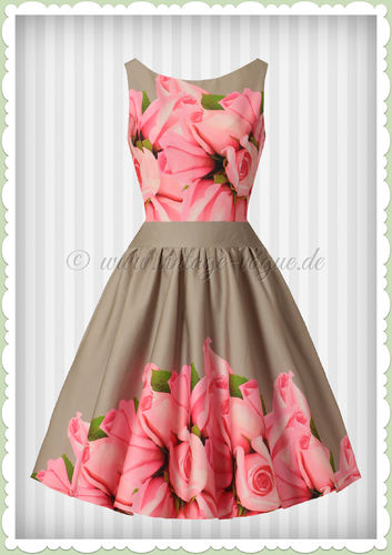 Lady Vintage 40er Jahre Retro Floral Border Kleid - Tea Dress - Beige Rosa
